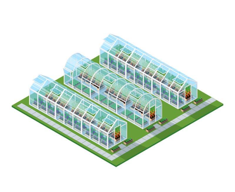 Ubicación isométrica de los invernaderos ilustración del vector