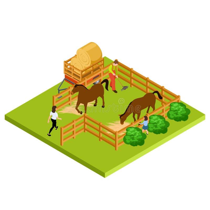 Ubicación isométrica del vector de la granja 3d del caballo aislada stock de ilustración