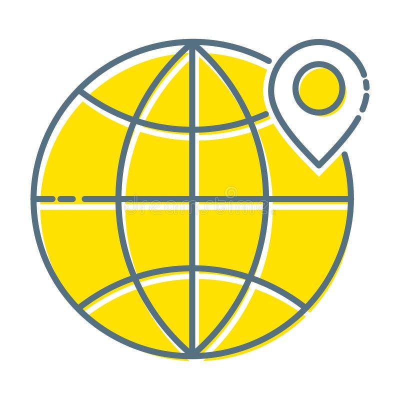 Ubicación, línea fina icono, uso del diseño plano para los hojas informativa del email, banderas de la web, jefes, postes del blo ilustración del vector