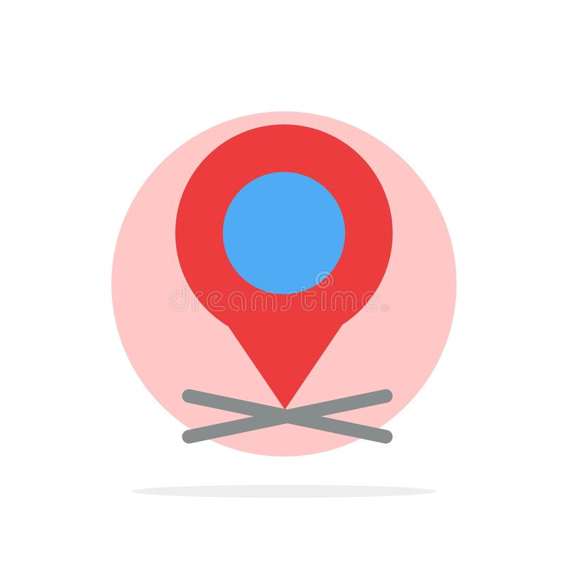 Ubicación, mapa, indicador, icono del color de Pin Abstract Circle Background Flat stock de ilustración
