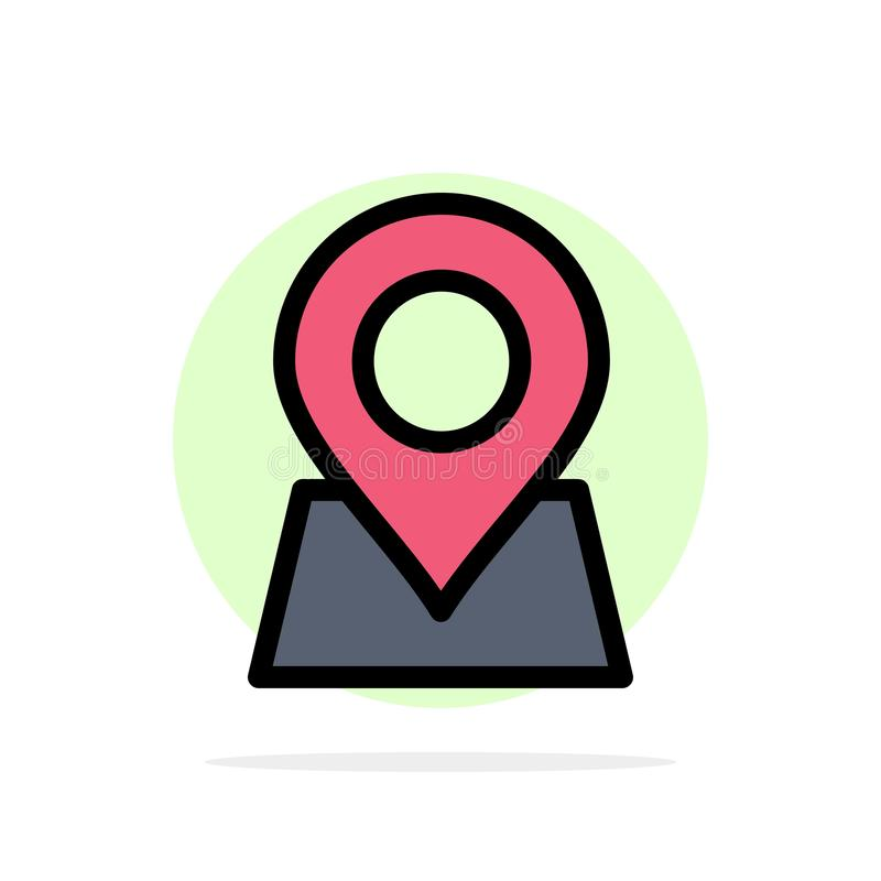 Ubicación, mapa, marcador, icono del color de Pin Abstract Circle Background Flat ilustración del vector