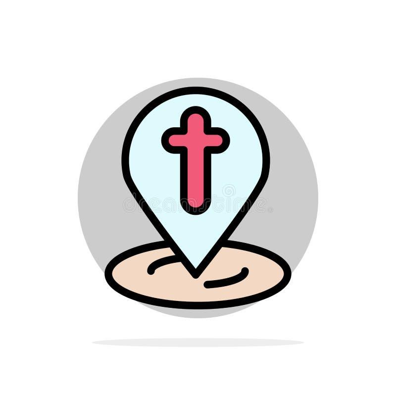 Ubicación, mapa, Pascua, icono del color de Pin Abstract Circle Background Flat libre illustration