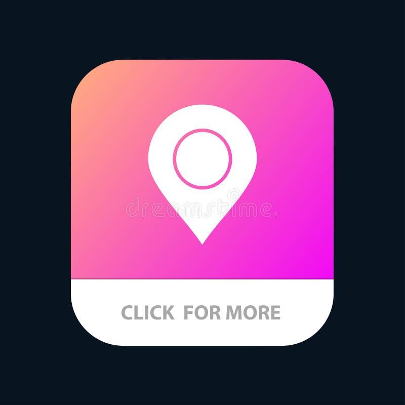Ubicación, marcador, Pin Mobile App Button Android y versión del Glyph del IOS stock de ilustración
