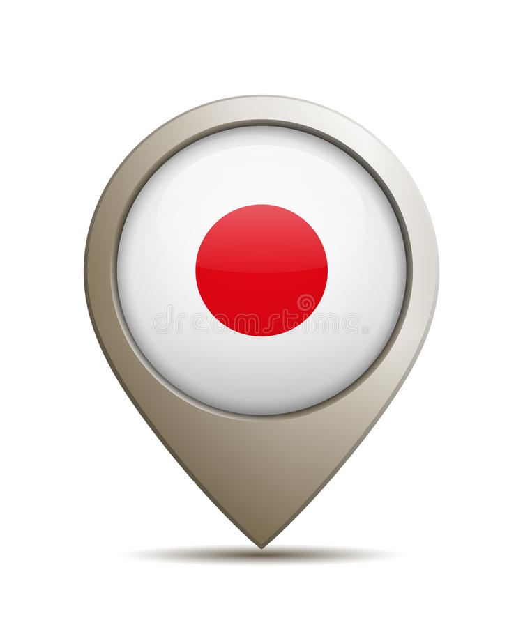 Ubicación Pin With Japanese National Flag ilustración del vector