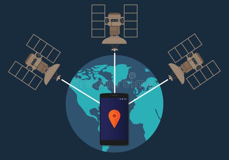 Ubicación por satélite del teléfono del sistema de navegación mundial de GPS que sigue cómo método técnico stock de ilustración