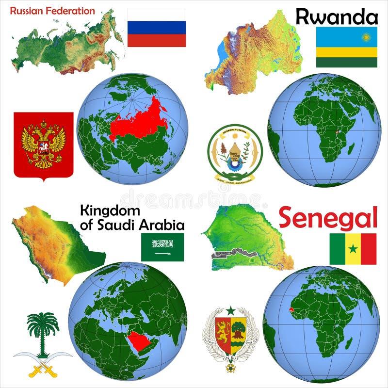 Ubicación Rusia, Rwanda, la Arabia Saudita, Senegal stock de ilustración