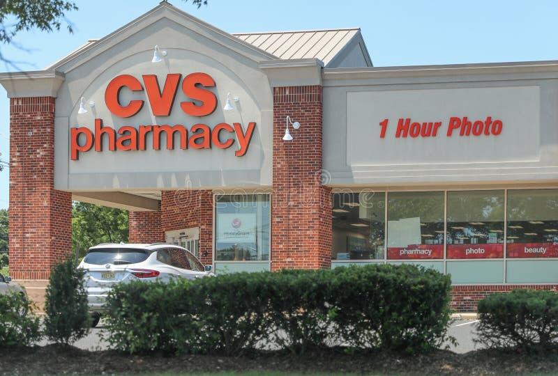 Ubicaci?n de la venta al por menor de la farmacia de CVS foto de archivo libre de regalías