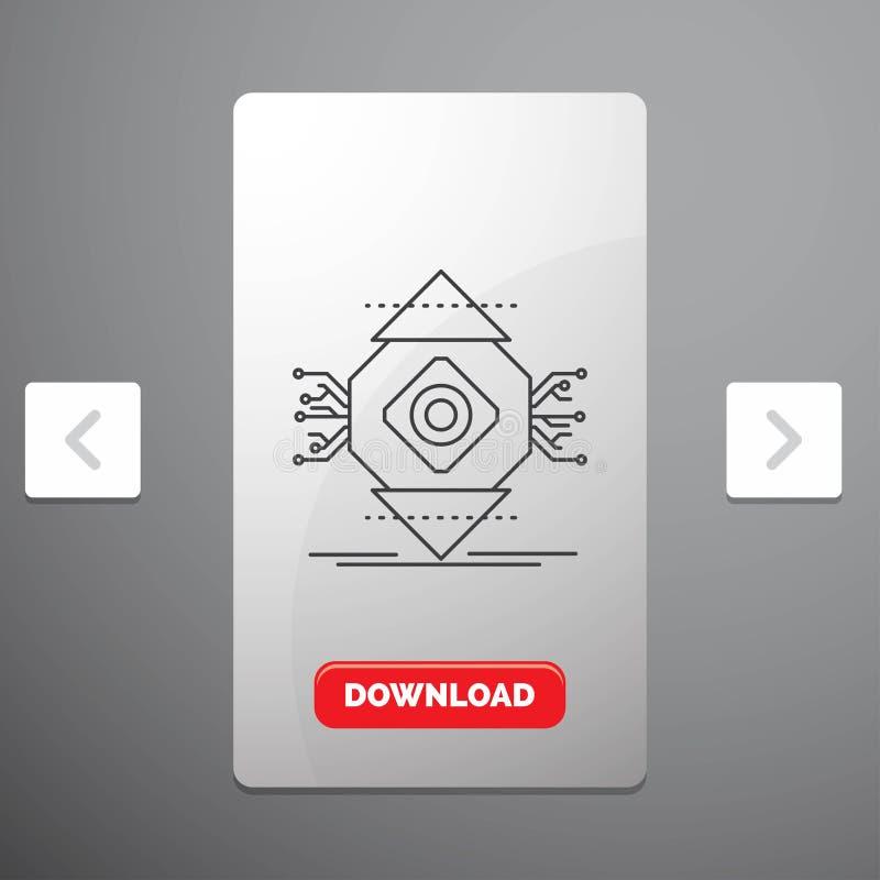 ubicomp, beräkning, allestädes närvarande, dator, begreppslinje symbol i design för Carousalpagineringsglidare & röd nedladdningk royaltyfri illustrationer