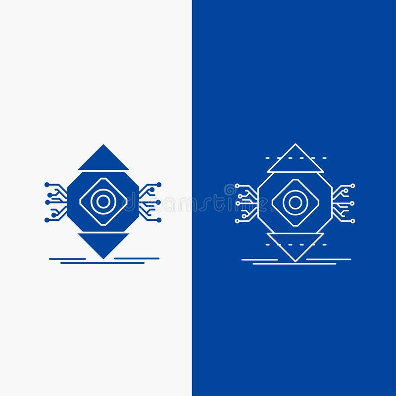 ubicomp, Gegevensverwerking, Alomtegenwoordig, Computer, Conceptenlijn en Glyph-Webknoop in Blauwe kleuren Verticale Banner voor  royalty-vrije illustratie