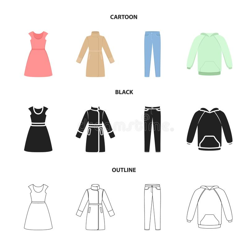 Ubiera z krótkimi rękawami, spodnia, żakiety, raglanowi Odziewać ustalone inkasowe ikony w kreskówce, czerń, konturu stylowy wekt royalty ilustracja