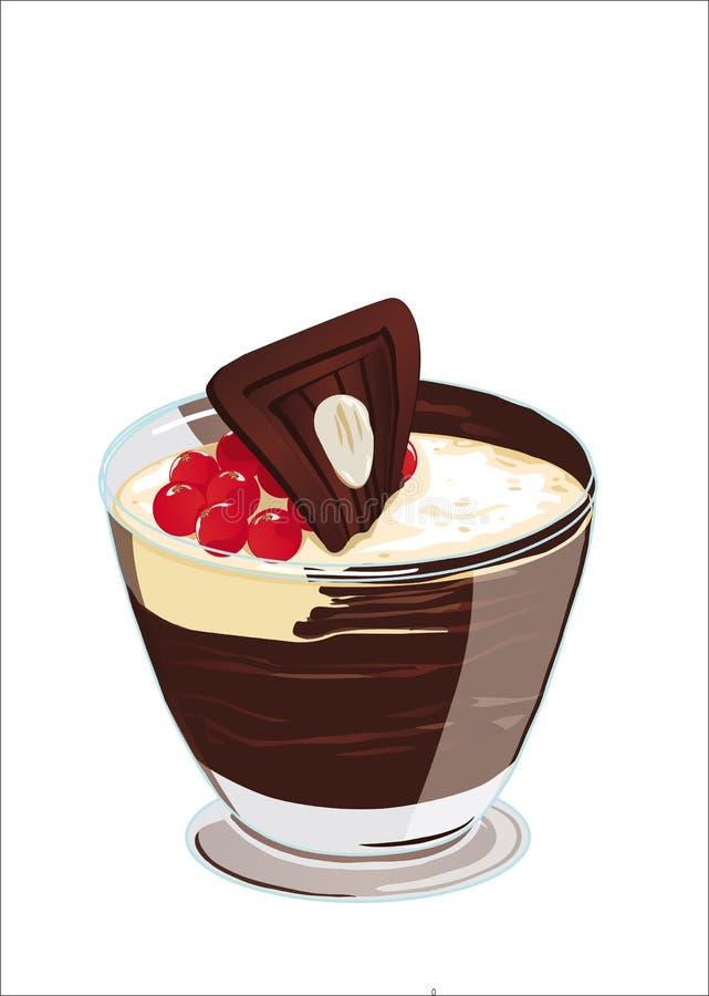 Ubierający w białej kremowej czekoladzie z rodzynkami i migdałami ilustracji