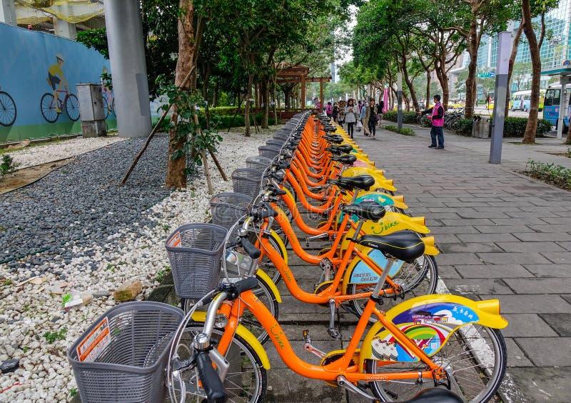 Ubike für Miete auf Straße in Taipeh, Taiwan lizenzfreies stockbild