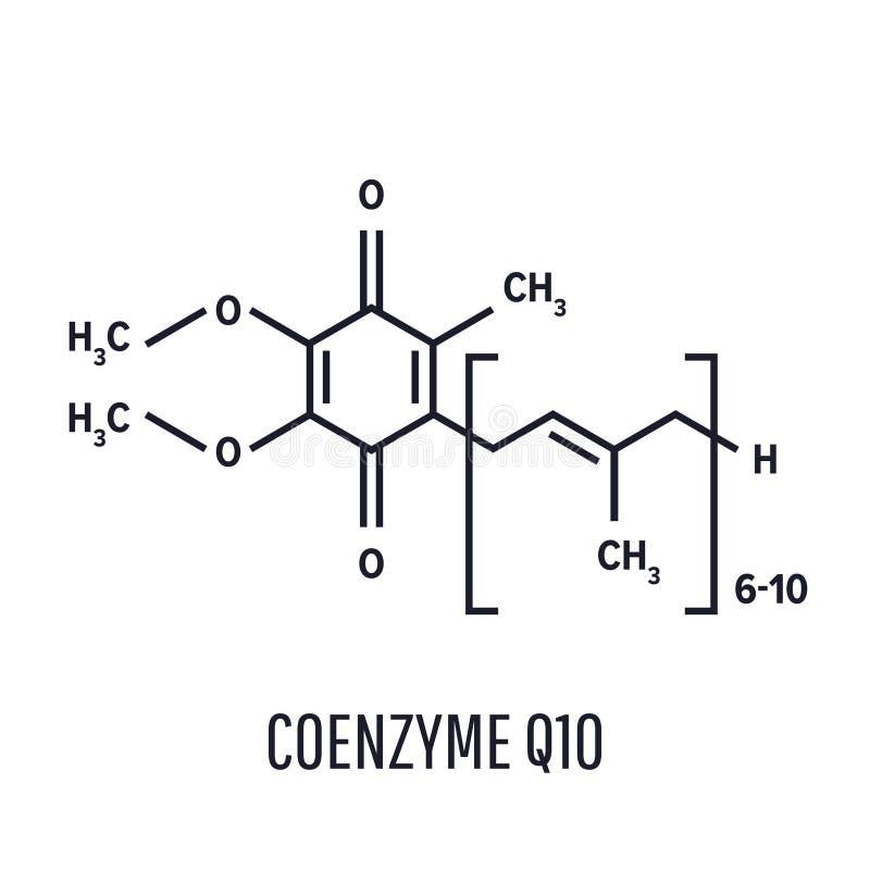 Ubiquinone da coenzima Q10, ubidecarenone, molécula CoQ10 ilustração do vetor