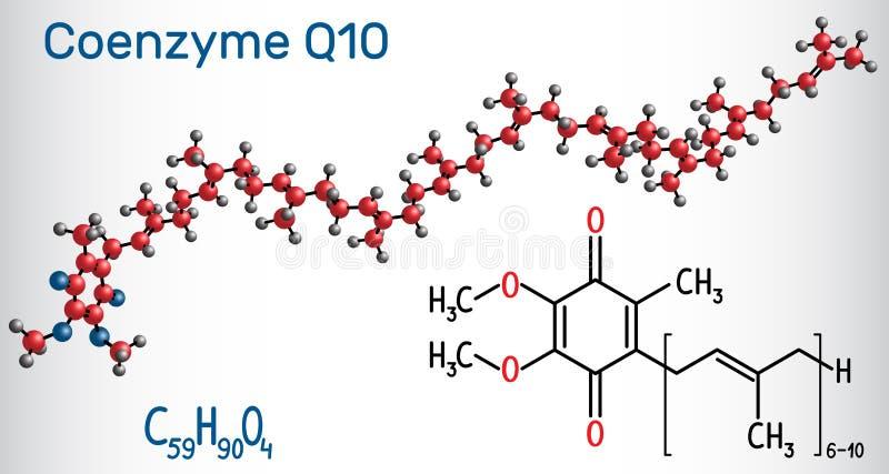Ubiquinone da coenzima Q10, ubidecarenone, coenzima Q, toupeira CoQ10 ilustração stock