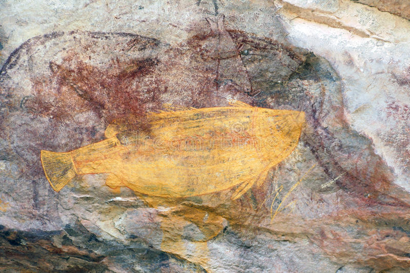 Ubirr Fish rock art stock photography