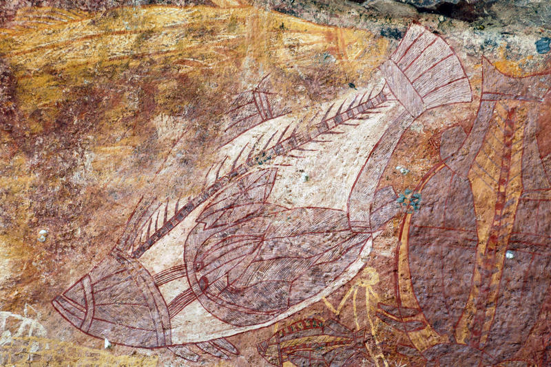 Ubirr Fish rock art stock image