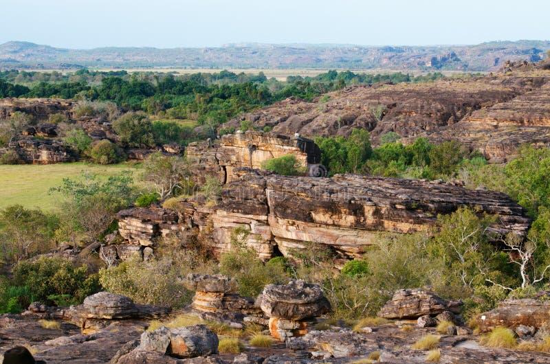 Ubirr, Kakadu National Park. The rocky landscape of Ubirr, located in the East Alligator region of Kakadu National Park in the Northern Territory of Australia stock image