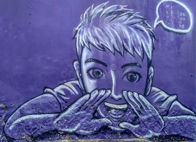 Ublic街道艺术名字Kah Lu戈公岛Hokkien在乔治城教您讲在墙壁上的Hokkien语言与黑白颜色,P 库存照片