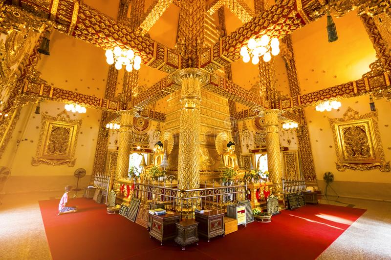 Ubon Ratchathani, Thailand. March 18, 2018. : golden buddha in t. Emple, Wat Phra That Nong Bua ,famous temple in Ubon Ratchathani Province stock images