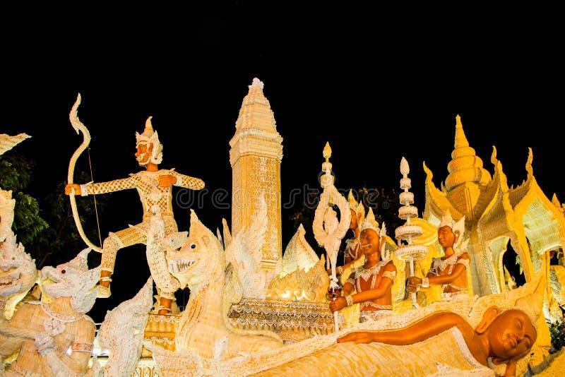 Ubonratchathani, Thailand - 12. Juli: Thailand-Kerzenfestival an stockfotografie