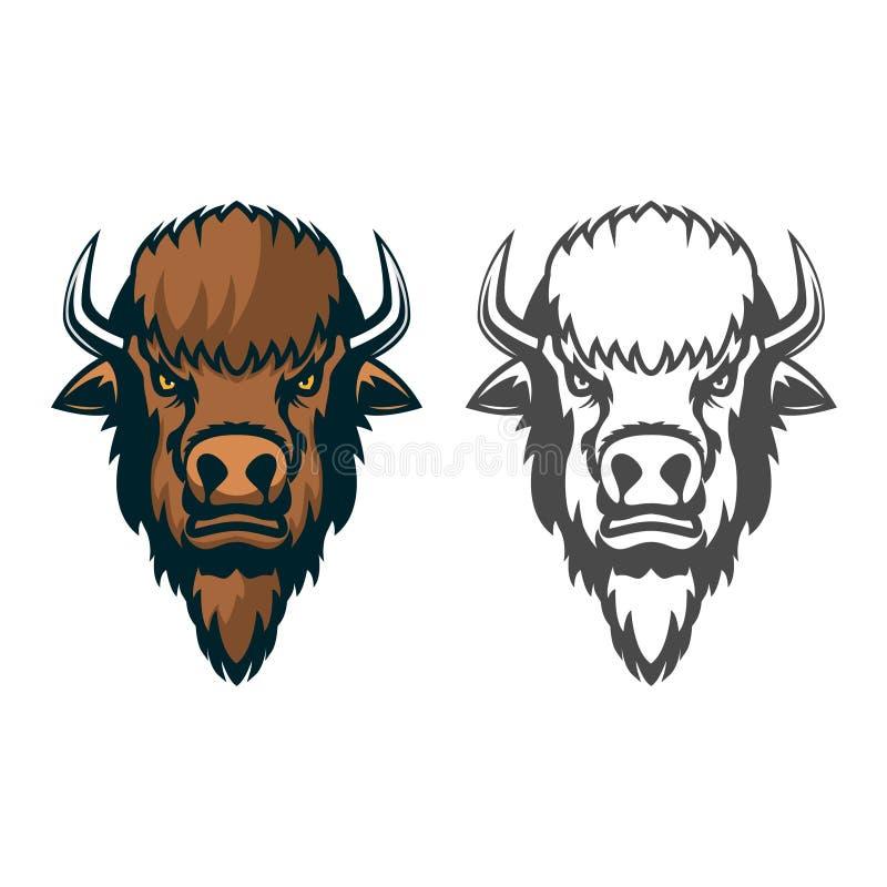 Żubr głowa Maskotka Emblemat sporta klub lub drużyna royalty ilustracja