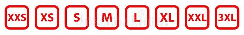 Ubraniowa etykietka rozmiaru kolekcja Różny rozmiar wiąże ikony ustawiać Etykietki od ekstra małego ekstra ampuła - wektor ilustracji
