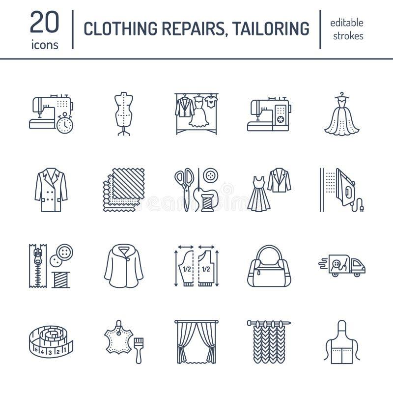 Ubraniowa naprawa, alteraci mieszkania linii ikony ustawiać Krawieckie sklep usługa - dressmaking, odzieżowa dekatyzacja, zasłoie ilustracja wektor