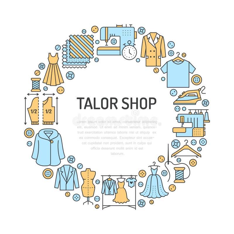 Ubraniowa naprawa, alteraci wyposażenia sztandaru pracowniana ilustracja Wektor kreskowa ikona krawieckie sklep usługa - ilustracja wektor