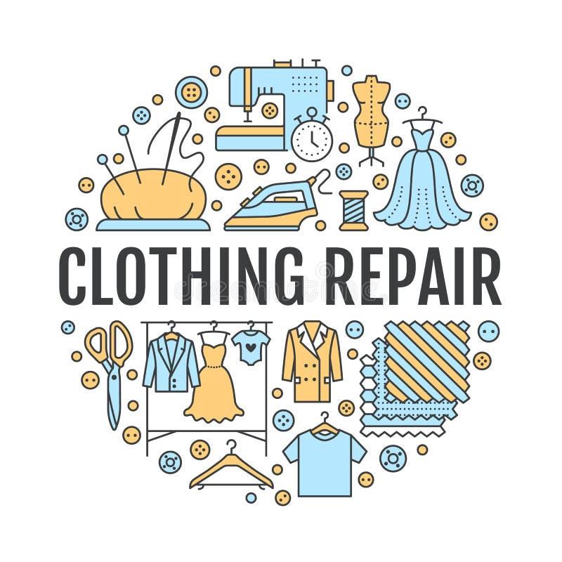Ubraniowa naprawa, alteraci wyposażenia sztandaru pracowniana ilustracja Wektor kreskowa ikona krawieckie sklep usługa - royalty ilustracja