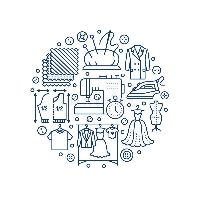 Ubraniowa naprawa, alteraci wyposażenia sztandaru pracowniana ilustracja Wektor kreskowa ikona krawieckie sklep usługa - ilustracji