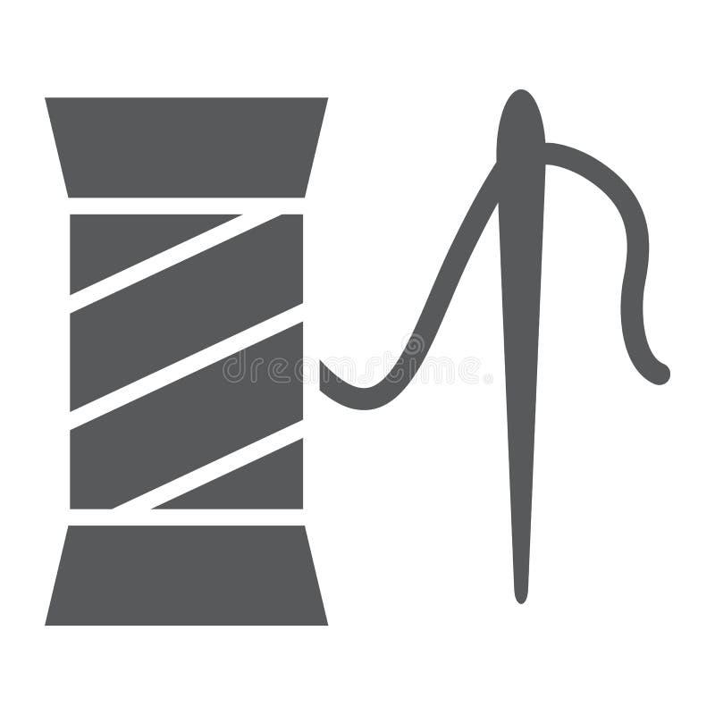 Ubraniowa remontowa glif ikona, szyć i usługa, cewa z igła znakiem, wektorowe grafika, bryła wzór ilustracja wektor