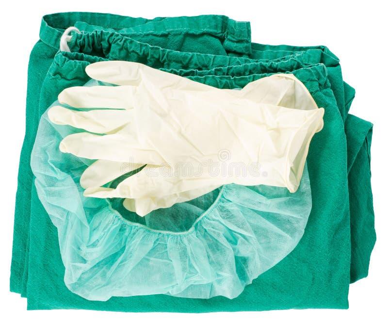 ubraniowe rękawiczki zielenieją chirurgicznie zdjęcie royalty free