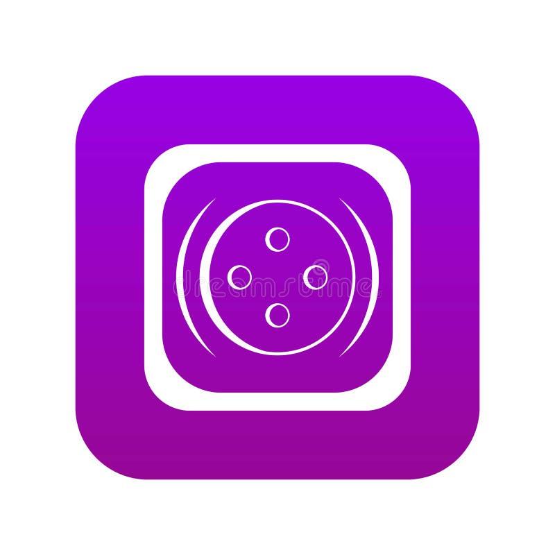 Ubraniowej kwadratowej guzik ikony cyfrowe purpury royalty ilustracja