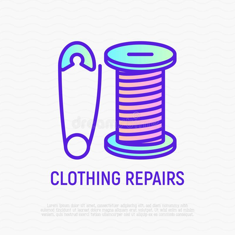 Ubraniowej naprawy cienka kreskowa ikona: szpilka i nić ilustracja wektor