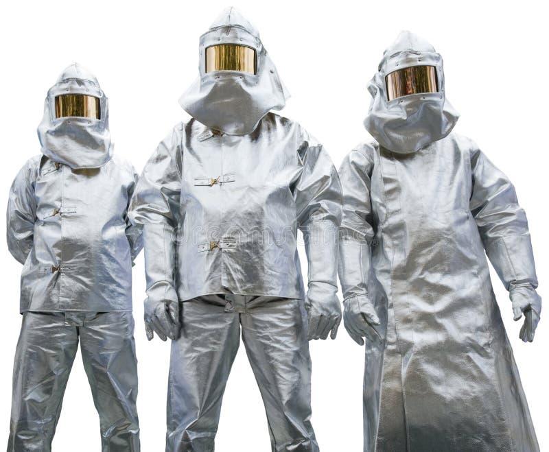 ubraniowy ochronny trzy pracownika zdjęcia stock