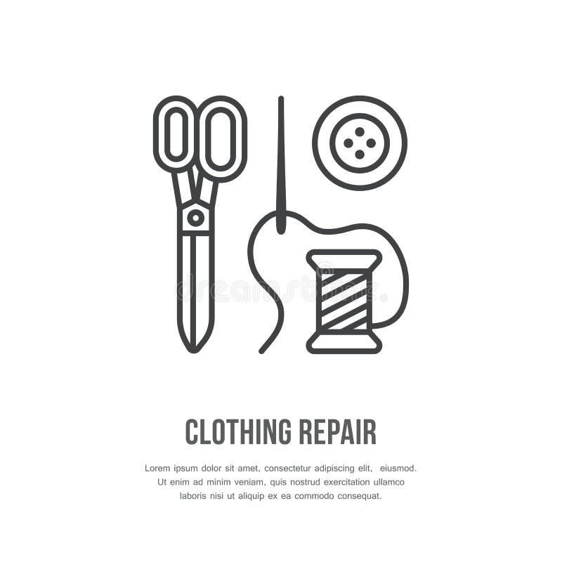 Ubraniowy remontowy usługowej linii logo Krawiecki sklepu mieszkania znak, ilustracja nożyce, igła i guziki, Ręcznie Robiony ilustracji