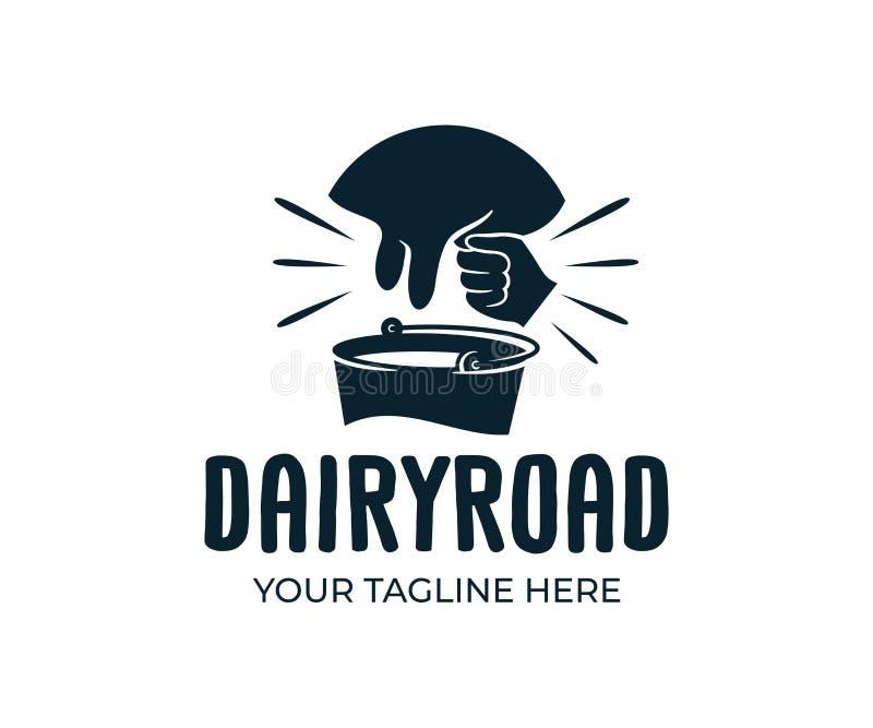 Ubre y hombre que ordeñan una vaca con el cubo de estilo de la leche, retro y del vintage, diseño del logotipo Granja, cultivando ilustración del vector