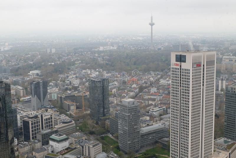 UBS-Europazentrale ragt in Frankfurt hoch stockfoto