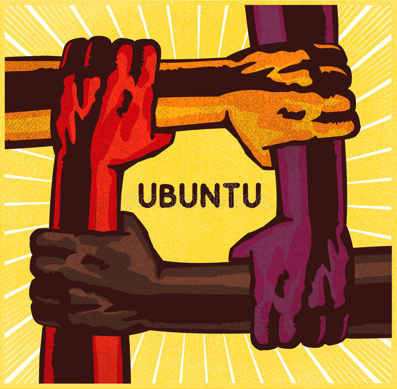 Ubuntu, arms holding each other, teamwork, cooperation concept vector illustration. Ubuntu, arms holding each other, teamwork, friendship, cooperation, mutual royalty free illustration