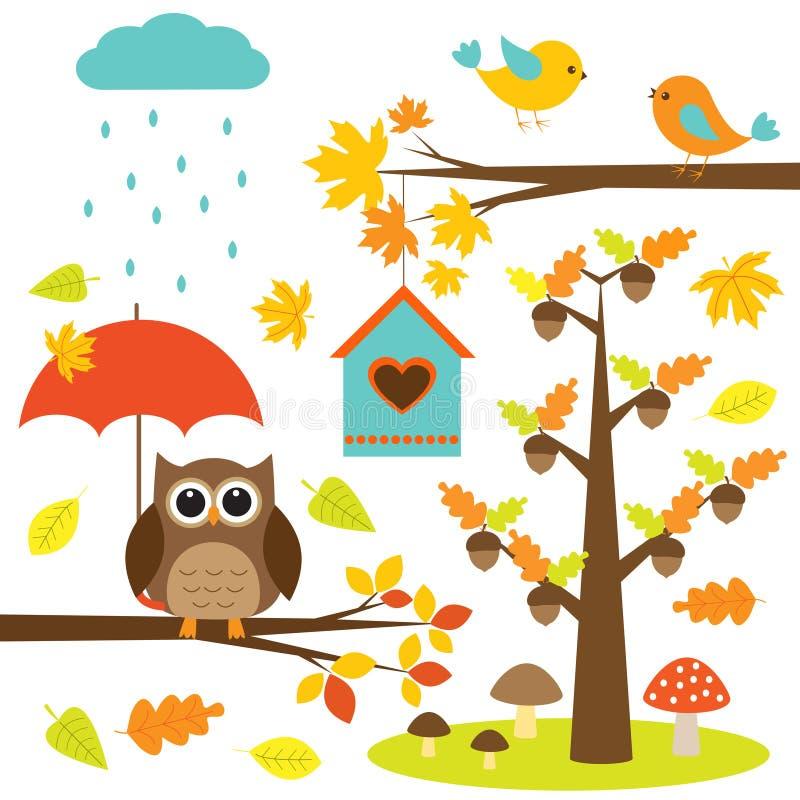 Uccelli, alberi e gufo illustrazione di stock