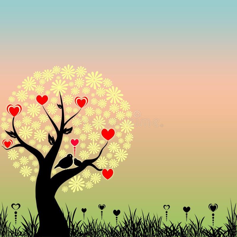 Uccelli astratti di amore e cuori rossi illustrazione vettoriale