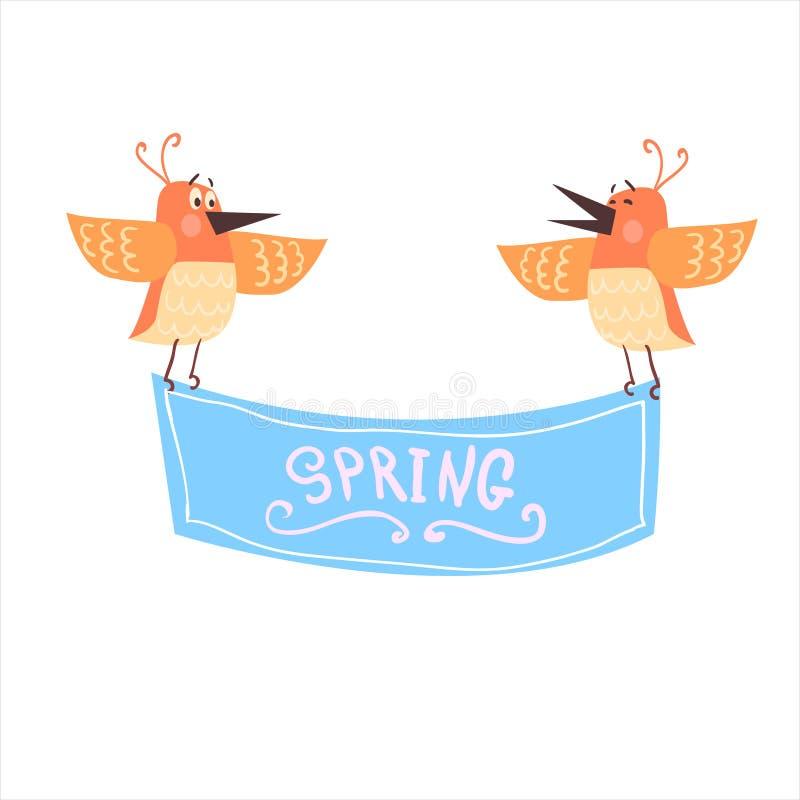Uccelli che tengono l'insegna della primavera illustrazione vettoriale
