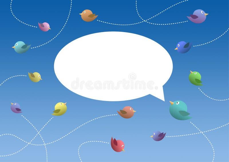 Uccelli che volano in un cielo blu con un fumetto bianco illustrazione di stock