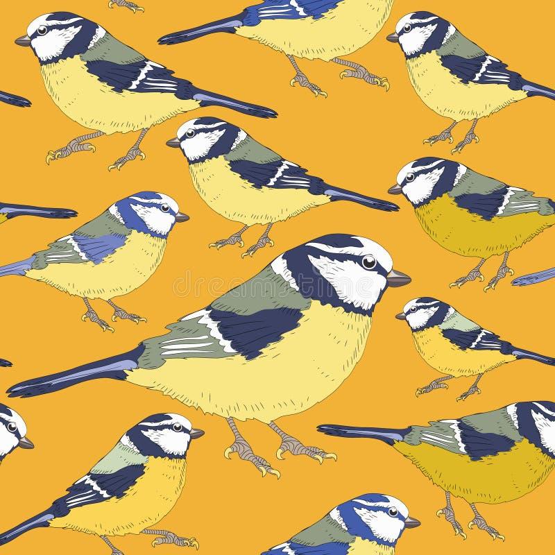 Uccelli del capezzolo Reticolo senza giunte Illustrazione di vettore su fondo giallo illustrazione vettoriale