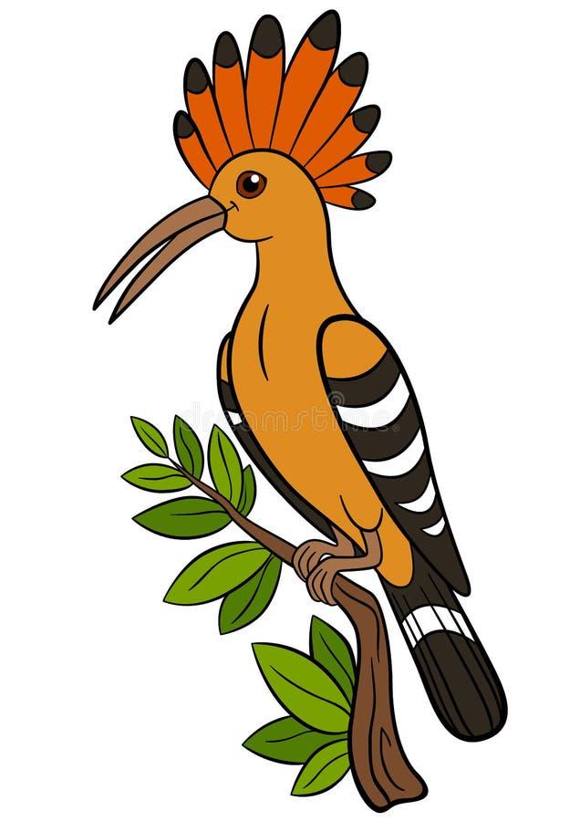 Uccelli del fumetto Bella upupa sveglia sul ramo illustrazione di stock