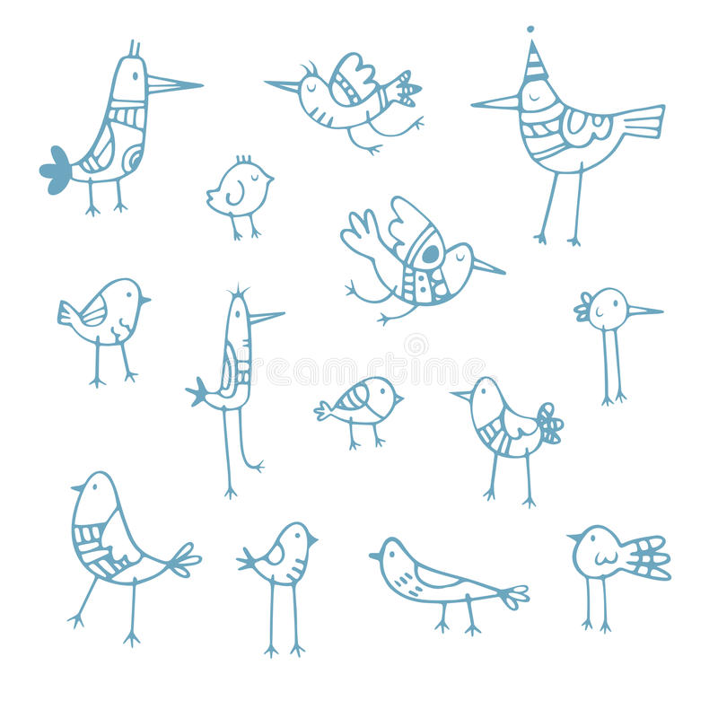 Uccelli del fumetto messi royalty illustrazione gratis