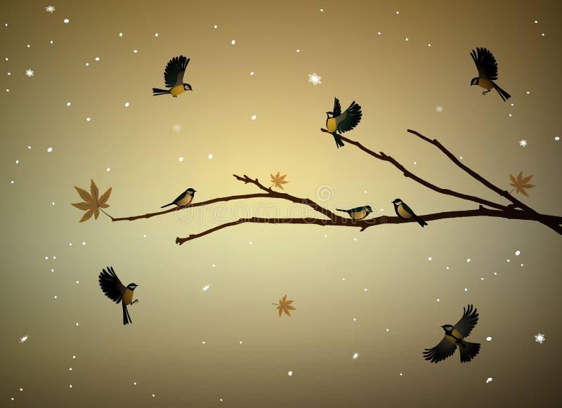 Uccelli del paro sul ramo di albero nella stagione di autunno, famiglia degli uccelli nel freddo nevoso se, illustrazione di stock