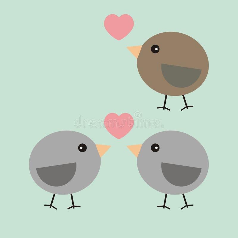 Uccelli della carta del biglietto di S. Valentino nell'amore illustrazione di stock
