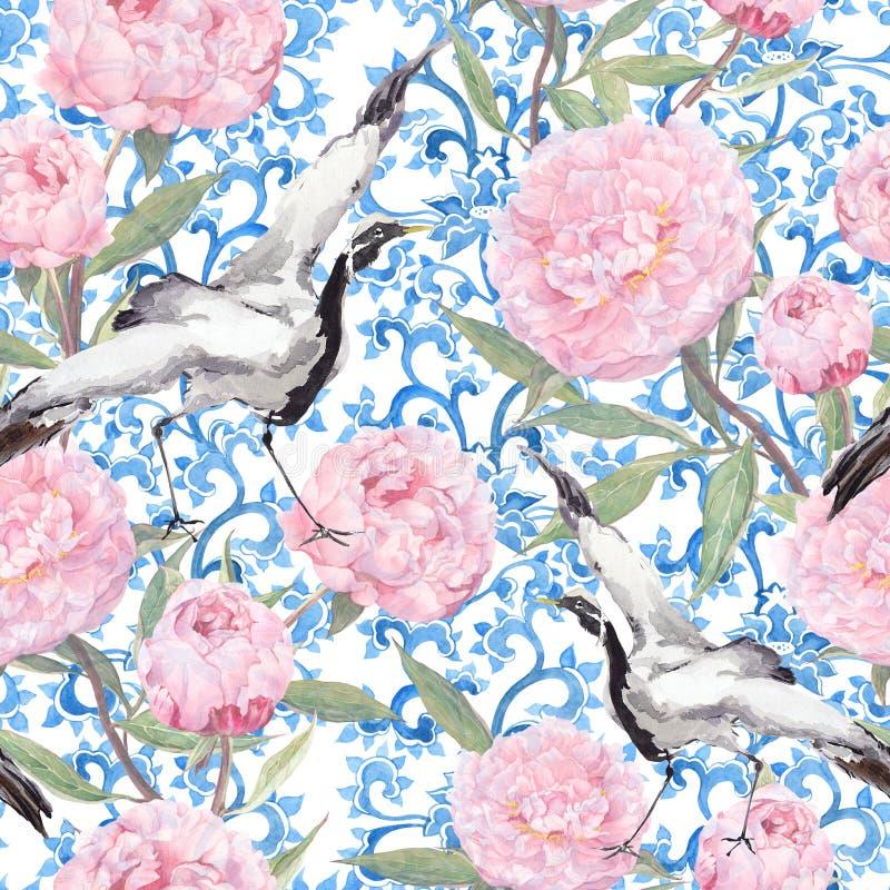Uccelli della gru, fiori della peonia Modello asiatico di ripetizione floreale watercolor illustrazione di stock