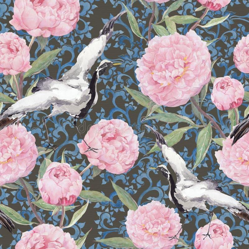 Uccelli della gru, fiori della peonia Modello cinese di ripetizione floreale watercolor illustrazione di stock